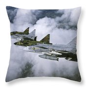 Four Saab 37 Viggen Fighters Throw Pillow