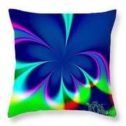 Fractal 24 Floral Fleur De Lis Throw Pillow