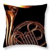 French Horn With Sparks Throw Pillow