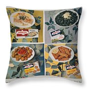 Frozen Food Ad, 1957 Throw Pillow