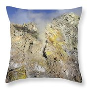 Fumaroles With Sulphur Deposits. Flank Throw Pillow