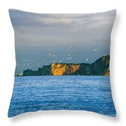 Gannets In Flight And Perce Rock Throw Pillow by Yves Marcoux