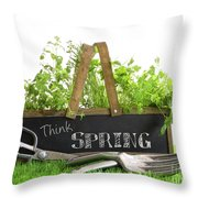 Garden Box With Assortment Of Herbs And Tools Throw Pillow