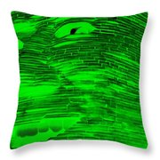 Gentle Giant In Negative Green Throw Pillow
