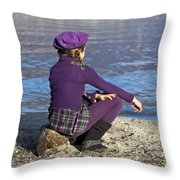 Girl At A Lake Throw Pillow by Joana Kruse