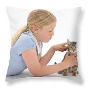Girl Grooming Kitten Throw Pillow