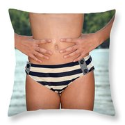 Girl In Bikini Throw Pillow