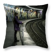 Girl In Station Throw Pillow