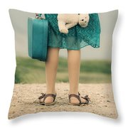 Girl In The Dunes Throw Pillow