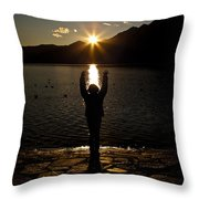 Girl With Sunset Throw Pillow
