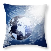 Globe With Fiber Optics Throw Pillow