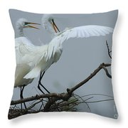 Great Egret Pair Throw Pillow