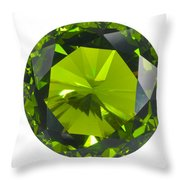 Green Gem Isolated Throw Pillow