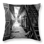 Grim Cell Block In Philadelphia Eastern State Penitentiary Throw Pillow
