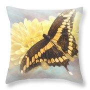 Grunge Giant Swallowtail Throw Pillow