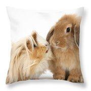 Guinea Pig And Rabbit Throw Pillow