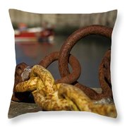 Harbour With Mooring And Fishing Boat Throw Pillow