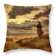 Haunting Figure Of A Woman Looking Out To The Ocean Throw Pillow