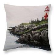 Head Harbour Lighthouse Throw Pillow by Jack Skinner