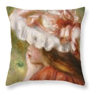 Head Of A Young Girl In A Red Hat  Throw Pillow