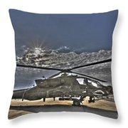 High Dynamic Range Photo Of An  Ah-64d Throw Pillow