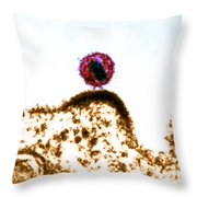 Hiv Budding Out Of Immune Cell, Tem Throw Pillow by Science Source