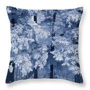 Hoarfrost On Trees In Winter, Birds Throw Pillow
