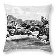 Horse Racing, 1900 Throw Pillow