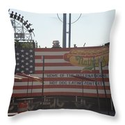 Hot Dog Eating Contest Throw Pillow