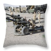 Howitzer 105mm Light Guns Are Lined Throw Pillow