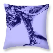 Human Skull And Spine Throw Pillow
