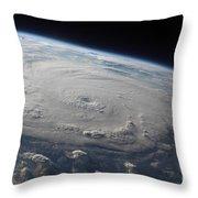 Hurricane Felix Over The Caribbean Sea Throw Pillow