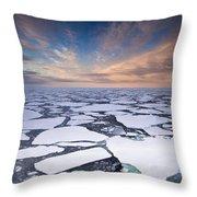 Ice Floes At Sunset Near Mertz Glacier Throw Pillow