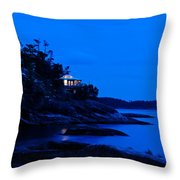 Illuminated Cabin In The Dark At The Seaside Throw Pillow