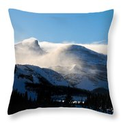 Illuminated Winter Landscape By The Sun Throw Pillow