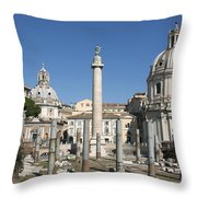 Imperial Fora With The Trajan's Column And The Church Santissimo Nome Di Maria.  Rome Throw Pillow
