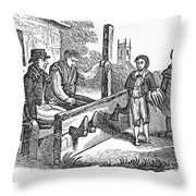 In The Stocks Throw Pillow by Granger