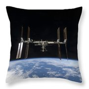 International Space Station Backdropped Throw Pillow