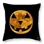 Jack-o-lantern Moon Throw Pillow