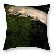 Jumping Gray Squirrel Throw Pillow