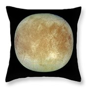 Jupiters Ice-covered Satellite, Europa Throw Pillow