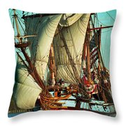Kalmar Nyckel Under Sail Throw Pillow
