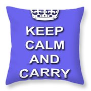 Keep Calm And Carry On Poster Print Blue Background Throw Pillow