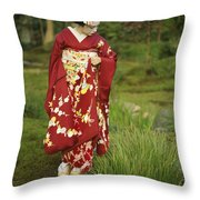 Kimono-clad Geisha In A Park Throw Pillow
