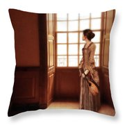 Lady In 16th Century Clothing With A Mandolin Throw Pillow