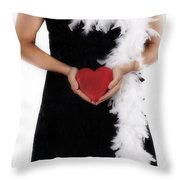 Lady With Heart Throw Pillow