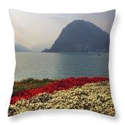 Lake Lugano - Monte Salvatore Throw Pillow by Joana Kruse