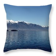 Lake With Snow-capped Mountain Throw Pillow
