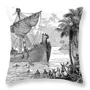 Landing Of Leif Ericsson Throw Pillow
