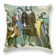 Landing Of The Pilgrims At Plymouth Throw Pillow